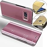 LEMAXELERS Galaxy S6 Edge Hülle Luxus Spiegel Mirror Makeup Plating PU Ledercase Flip Tasche Ledertasche Schutzhülle Handyhülle mit Ständer-Funktion Hülle Etui für Galaxy S6 Edge,Mirror PU:Rose