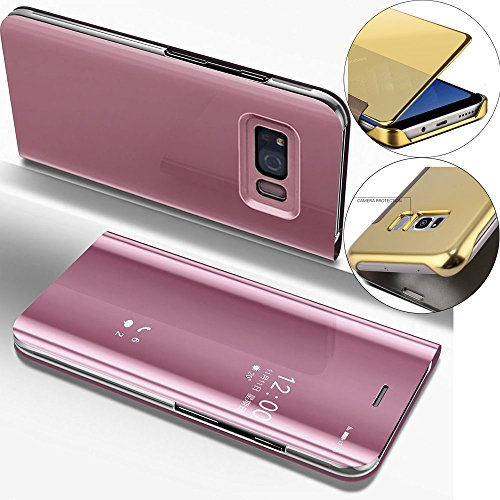 LEMAXELERS-For-Samsung-Galaxy-S6-Edge-Case-Flip-Glitter-Slim-Mirror-Wallet-CaseGalaxy-S6-Edge-Case-Rose-GoldGalaxy-S6-Edge-Case-Ultra-Slim-Luxury-Hybrid-Shock-Absorption-Clear-View-Flip-Electroplate-P