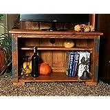 Propio diseño hecho a mano rústico de madera soporte de TV unidad de almacenamiento Madera Oscura tono armario estantería para libros...