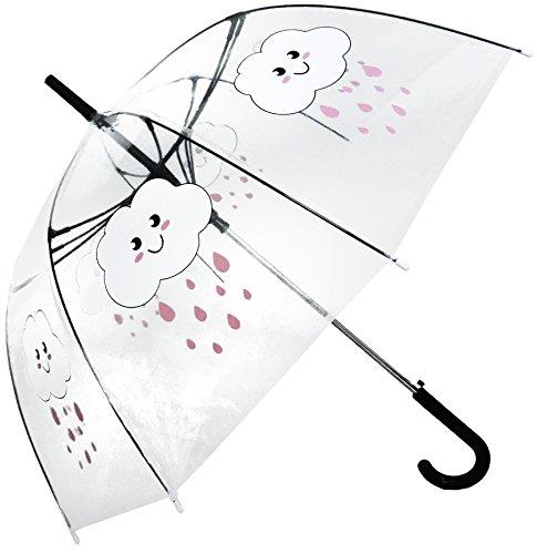 Transparenter durchsichtig Regenschirm der weißen Wolken