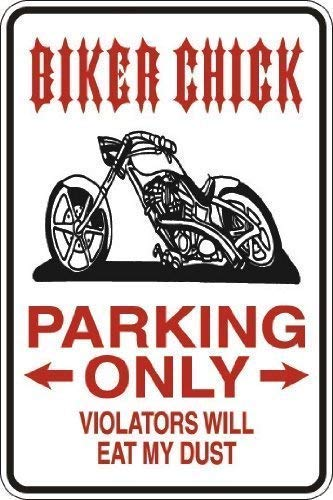 Tomlinsony Blechschild Metal Tin Sign Aluminum Vintage Biker Chick Parking Only Sign Wall Caution Sign 12