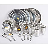 Anjali 20pcs Stainless Steel Dinner set (4 Pcs S.S. Full Plate, 4 Pcs S.S. Vati Big, 4 Pcs S.S. Glass, 4 Pcs S.S. Spoon, 2 Pcs S.S. Serving Bowl, 2 Pcs S.S. Serving Spoon)