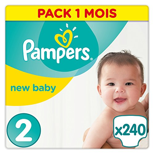 Pampers - New Baby - Couches Taille 2 (3-6 kg) - Pack 1 mois (x240 couches)