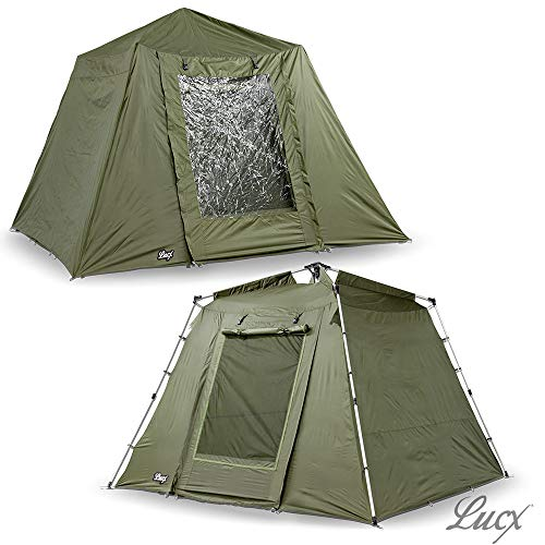 Lucx® Marder Bivvy + Winterskin 1-2 - 3 Mann Angelzelt + Überwurf Karpfenzelt + Overwrap 1-2 - 3 Man Fishing Tent 10.000mm Campingzelt