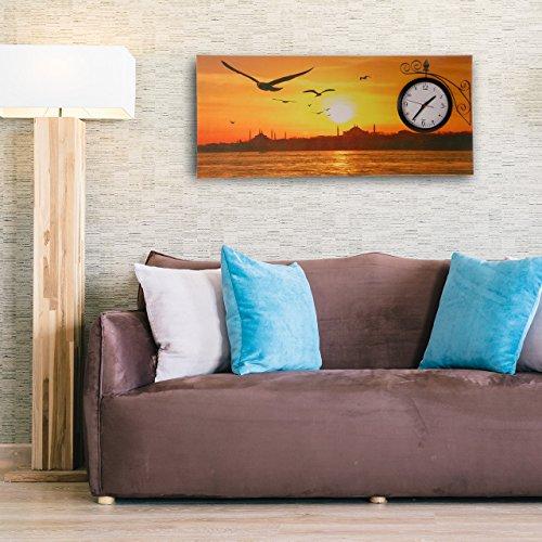 Wandgemälde mit Uhr Istanbul Havasi By-1004 Bild von Istanbul mit Aussicht als 3D Wanduhr Wandbild XL 87cm