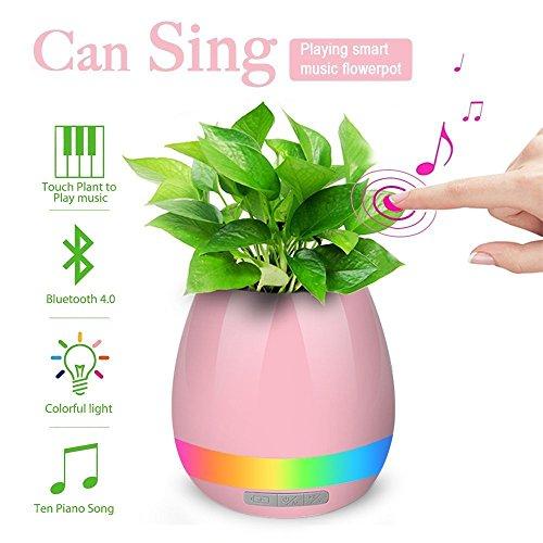 Wireless Bluetooth Speaker Music Flower Pot Smart Musical Player Indoor Planter Round...