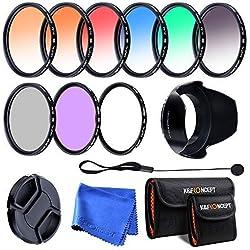 K&F CONCEPT 52mm Ensemble de 9 Filtres (UV+CPL+FLD+Bleu+Orange+Gris+Rouge+Vert+Brun) Filtre protecteur Filtre Polarisant Filtre Gris Neutre Filtres Couleur dégradés