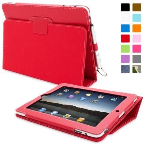 Custodia Snugg per iPad 1 in pelle, colore: Rosso - Custodia con supporto flip-stand, cinturino elastico per il polso, passante elastico per penna e rivestimento interno di qualità in nabuk - Capacità automatica di riattivare o mettere in modalità a riposo il vostro Apple iPad 1