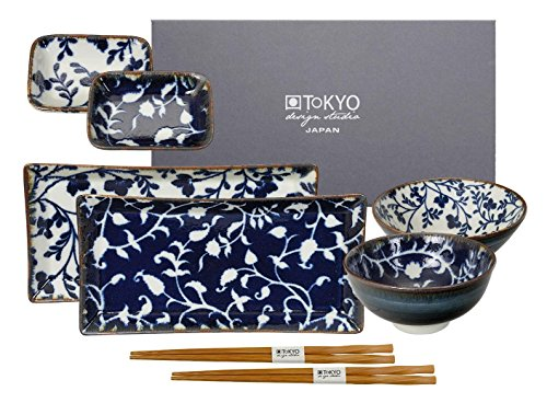 TOKYO design studio, Sushi, Fleur de Ligne, Set de 2 Assiettes + 2 coupelles à Sauce + Set de 2 Bols Riz + 2 Baguettes, 8 pièces, en Porcelaine du Japon