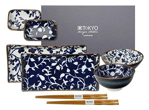 TOKYO design studio, Fleur de Ligne, Sushi Set, 8teilig. 2 Sushi Platten, 2 Reisschalen, 2 Saucenschalen, 2 Paar Holz Chopsticks. Sushiteller Porzellan Set. Design Sushi-set