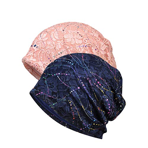 JORYEE Beanie Mütze Damen - Chemo Mütze Damen Kopftuch Hut Mütze, Frauen Slouch Beanie Mütze Weich Slouchy Turban Kopfbedeckungen Kopf Wraps, Slouch Longbeanie (2 Stück-Blau+Rosa)