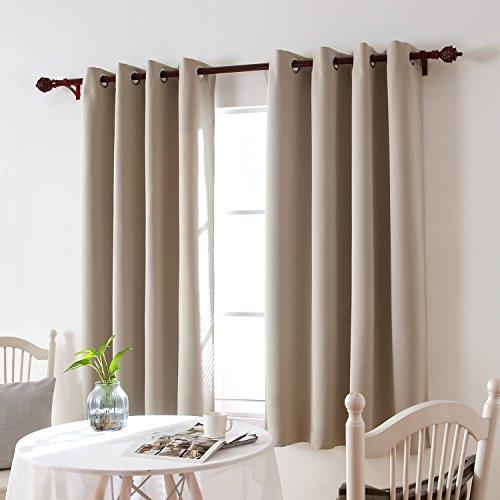 Deconovo tende oscuranti termiche isolanti con occhielli per tua casa 100% poliestere beige 140x180 cm due pannelli