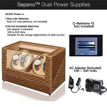 Sepano-Automatischer-Uhrenbeweger-fr-4-Uhren-SchwarzKaffeeKahki-5-Modi-aus-PU-Leder-in-Design-Straumustern-Auto-Randfaden