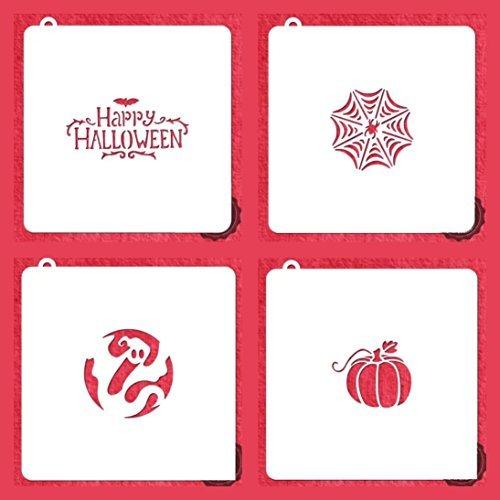 American Confections Halloween Cookie, Kuchen, Craft Schablone Ghost, Kürbis, Spinnennetz, Happy Halloween-Set von 4 (Cookies Halloween Web Spider)