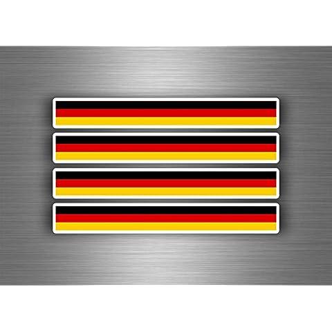 4x Pegatina Adhesivo Coche Moto Stripes Bandera Tuning Alemania alemán