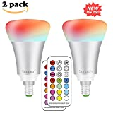 (2 Pack)RGB Lampada Bulbo a LED con IR Telecomando,Sunpion® E14 Small Edison Screw 10W 12 Cambia Colore RGB LED lampadina Bulbo,Celebration per Natale, Espeacially Per Decorazione (2 Pcs)