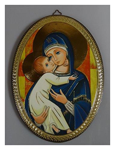 Lnxp Wandbild Bild Laminiert auf Holz handgefertigt Heilige Maria und Jesuskind 12 ApostelOval (M5)