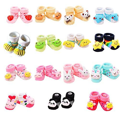 VWU Random 6er Pack Unisex Baby Mädchen Junge 3D Cartoon Socken Säugling Slipper Schuh Booties 0-6/6-12 Monate (6-12 Monate, Jungen Random 6er Pack) (Schuhe Mädchen Kinder Geboren)