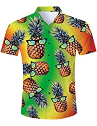 TUONROAD Camisa Hawaiana para Hombre 3D Piña Gato Camisas de Playa Manga Corta Casual Camisas M-XXL