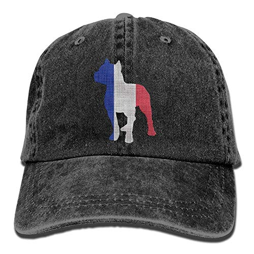 Miedhki Patriotic Pitbull France Flag Vintage Denim Baseball Cap Adjustable Dad Hut Multicolor2 -