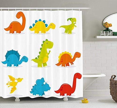 Werert dinosauro carino e divertente set di dinosauri in stile cartone animato, collezione colorata, per cameretta dei bambini, 152,4 x 182,9 cm, tenda da doccia impermeabile con ganci