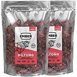 EMBER Biltong Bulk Bag - Beef Jerky - Chilli British and Irish Jerky. High Protein Biltong Snack. (Original, 1KG) ...
