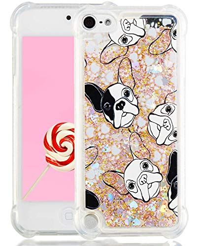 iPod Touch 6 Clear Case, savyou Slim Soft Klar Liquid infundiert Treibsand Luxus Bling Glitzer Sparkle Hybrid Bumper Schock Schutzhülle für Apple iPod Touch 6./5. Generation, T6-Puppy -