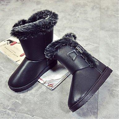 Da donna Scarpe PU (Poliuretano) Inverno Comoda Anfibi Stivaletti Piatto Punta tonda Più materiali Per Casual Nero Cachi black