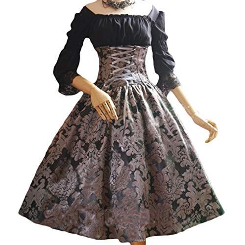 Damen Mittelalter 3/4 Ärmel Kleid - Retro Renaissance Viktorianisch Kostüm Midi Kleider mit Ausgestellte Ärmel Mittelalterkleid Prinzessin Kostüm für Halloween Party Cosplay Fünf ()