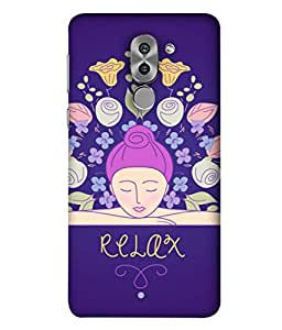 Huawei Honor 6X Back Cover Relaxing Girl With Floral Pattern Image Design From FUSON