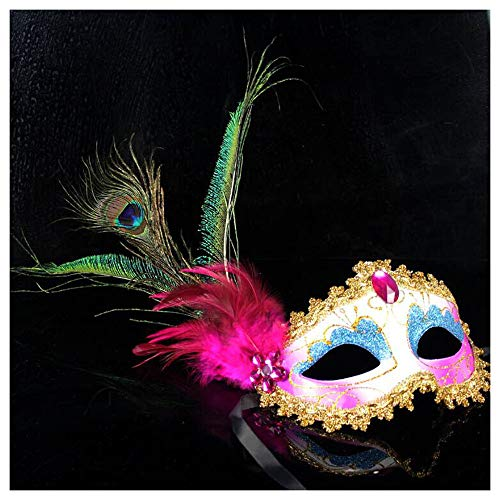 Maske YN Halloween Venedig Premium Seite Pfau Ball Dance Weibliche Erwachsene Feder Kostüm Party Requisiten (Color : Rose red)