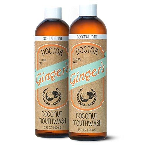 Doctor Ginger\'s Enjuague bucal de jalea y blanqueamiento con aceite de coco de Dr. jengibre, menta de coco, 12 oz, paquete de 2