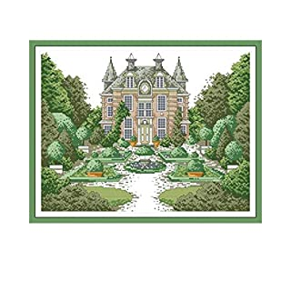 Manor 2 Landscape Painting Cross Stitch Aida Fabric 14ct 11ct DMC Embroidery Floss DIY Needlework Printed on Canvas,Cross Stitch FA050,11CT Printed Canvas