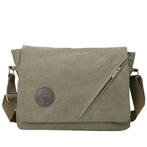 Eshow borsa a tracolla da uomo di tela messenger stile retro' (Verde)