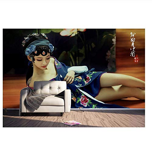 Lovemq Benutzerdefinierte Mural 3D Tapete Chinesische Theater Kostüm Schönheit Dekor Malerei 3D Wandbilder Tapete Für Wohnzimmer Wand 3 D-400X280Cm (Theater Qualität Kostüm)