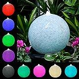 Köhko Wasserlichtspiel 30cm Kugelbrunnen 51002 in Natursteinoptik Gartenleuchte • Außenleuchte inkl. 24 Tasten IR-Fernbedienung