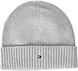 Tommy Hilfiger Herren Strickmütze PIMA Cotton Cashmere Beanie, Grau (Light Grey Heather 047), One Size (Herstellergröße: OS)