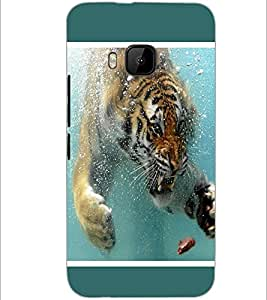 PrintDhaba Angry Tiger in Water D-1308 Back Case Cover for HTC ONE M9S (Multi-Coloured)