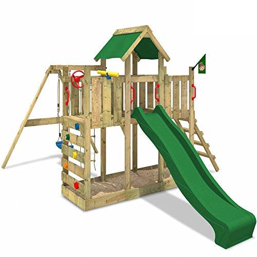 WICKEY Spielturm TwinFlyer Kletterturm mit Schaukel, Rutsche, Sandkasten mit Zubehör-Komplettset, grüne Rutsche + grüne Dachplane