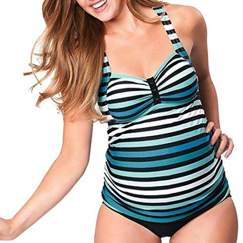 ❤️LuckyGirls Oversize Tankini schwanger Badeanzug Damen Mutterschaft Neckholder Bademode Große Größen Zweiteilig Beachwear Badebekleidung (Blau1, L)