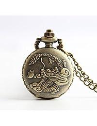 Maybesky Reloj de Bolsillo Antiguo dragón Tallado Reloj de Cadena Larga de la Vendimia para el Regalo del día del Padre Caja de Regalo para cumpleaños Aniversario día Nav
