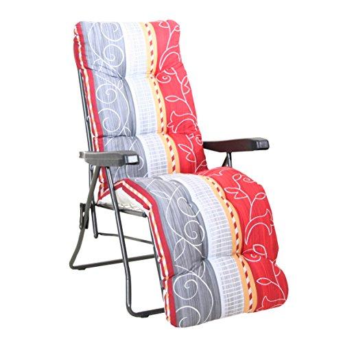 greemotion Relaxsessel Kiel anthrazit/Dessin, Gartenstuhl mit 7-fach verstellbarer Rückenlehne, Campingstuhl zusammenklappbar inkl. Flockenauflage, Gartensessel aus Stahl und...