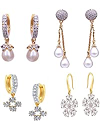 Cardinal Stylish Designer Party Wear Latest Design Traditional American Diamond Combo Of Earring For Women/Girls