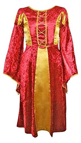 Das Kostümland Burgfräulein Prinzessin Helena für Mädchen - Rot Gold Gr. 164