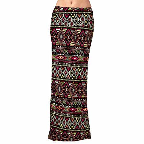 QIYUN.Z Femmes Vacances Occasionnels Longueur Cheville Motif Vintage Imprimé Jupes Longues Style 11