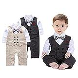 G-Kids Baby Jungen Strampler Gentleman Smoking Anzug Kleinkind Langarm Bekleidungsets Outfits Spielanzug Fliege Hochzeit Taufkleidung (Khaki, 70/3-6 Monate)