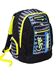 Idea Regalo - Zaino scuola advanced SEVEN - GECKO BOY Nero - Patch FOSFORESCENTI - 30 LT - inserti rifrangenti