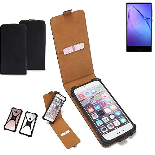 K-S-Trade Flipstyle Hülle für Leagoo KIICA Mix Handyhülle Schutzhülle Tasche Handytasche Case Schutz Hülle + integrierter Bumper Kameraschutz, schwarz (1x)