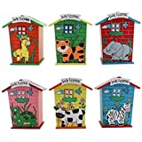 ARIRA Piggy Bank/Money Bank Wood House Animal Mix Designs And Colour (Available-Pack Of 2/4/6) (Pack Of 2)
