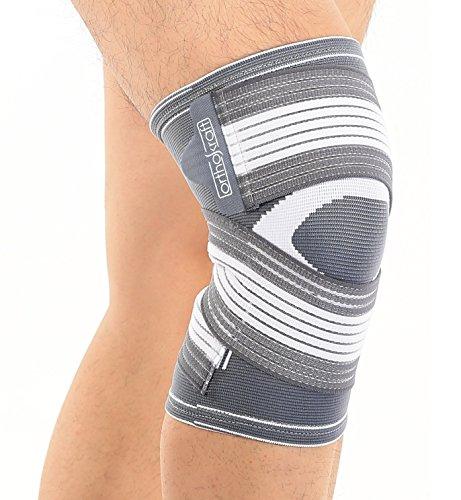 Orthokraft Kniebandage (L/XL), für Damen und Herren, rechts und links anwendbar, die individuell einstellbare atmungsaktive Kniebandage sorgt für Stabilität und schmerzlindernd beim Sport und im Alltag, bei Gelenkschmerzen, Arthrose, Verletzung des Meniskus und der Kniescheibe, als Knieschoner ideal beim Joggen und Laufen (Kniebandagen Knie Bandage)